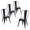 Buschman Set of Four Matte Black Dining Room Industrial Metal Stackable Chairs With Back