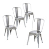 Buschman Set of Four Gray Dining Room Industrial Metal Stackable Chairs With Back