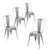 Buschman Set of 4 Grey Metal Dining Chairs, Indoor/Outdoor and Stackable