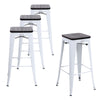 Buschman Set of 4 White Wooden Seat 30 Inch Bar Height Metal Bar Stools, Indoor/Outdoor Stackable