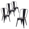 Buschman Set of 4 Matte Black Wooden Seat Metal Dining Chairs, Indoor/Outdoor and Stackable