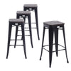 Set of 4 Matte Black Wooden Seat 30 Inch Bar Height Metal Bar Stools