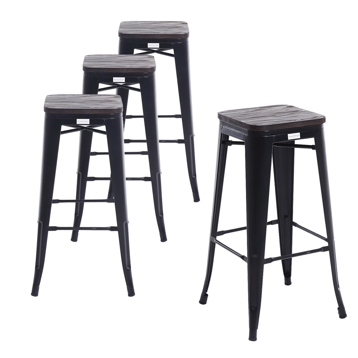 Buschman Set Of 4 Matte Black Wooden Seat 30 Inch Bar Height Metal