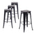 "Buschman Metal Bar Stools 30"" Bar Height, Indoor/Outdoor and Stackable, Set of 4 (Matte Black with Wooden Seat)"