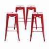 "Buschman Set of Four Matte Red 30"" Industrial Metal Stackable Backless Barstools"