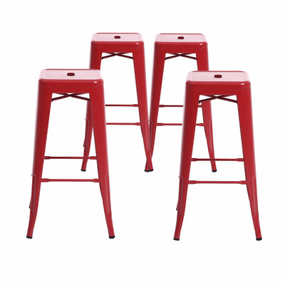 Buschman Set of 4 Matte Red 30 Inch Bar Height Metal Bar Stools, Indoor/Outdoor Stackable