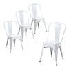 Buschman Set of Four Matte White Dining Room Industrial Metal Stackable Chairs With Back