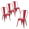 Buschman Set of Four Matte Red Dining Room Industrial Metal Stackable Chairs With Back