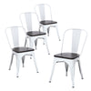 Buschman Set of Four Matte White Dining Room Industrial Metal Stackable Chairs With Back and Wooden Seat