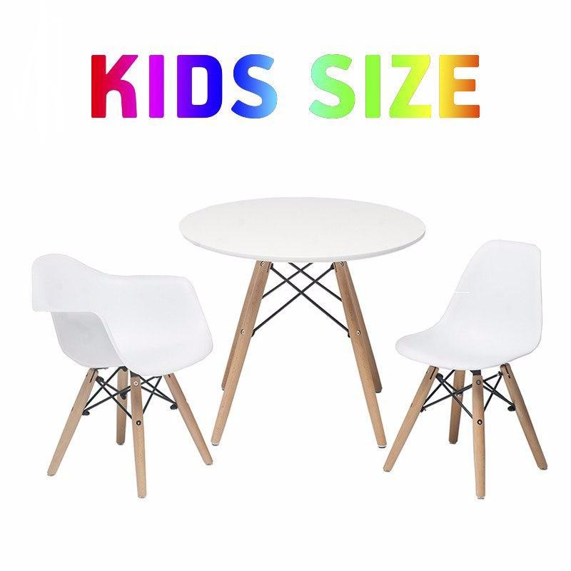 Set of White Kids Mid Century Wooden Legs Table and Armchair & Armless Chair