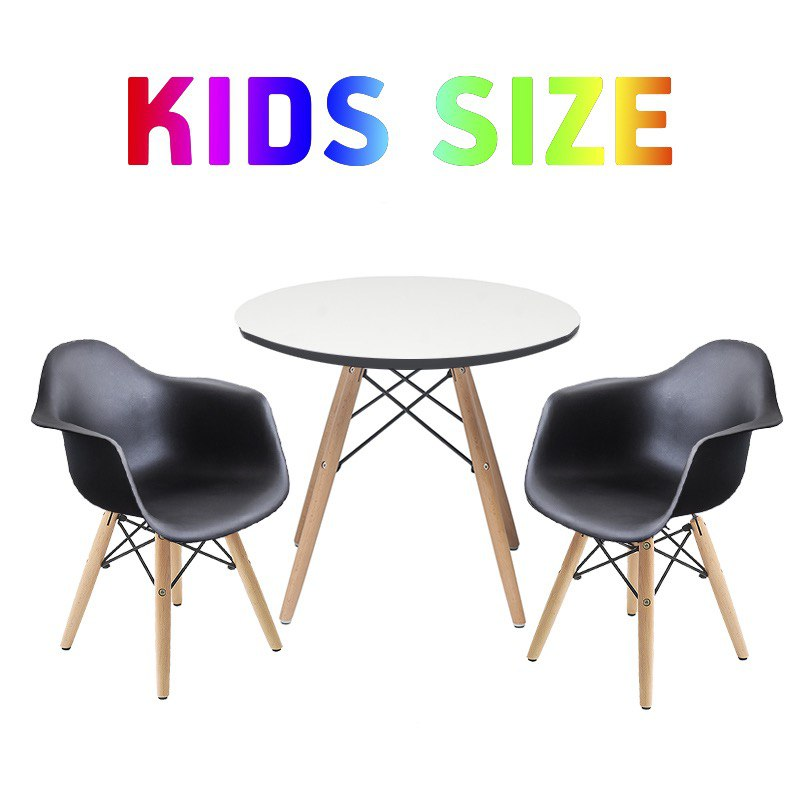 Set of Kids Table with Scratch Resistant Surface and 2 Black Retro Side Armchairs