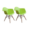 Buschman Set of Two Green Mid Century Modern Dining Room Wooden Legs Armchairs