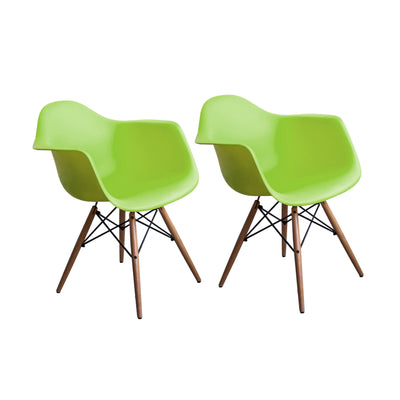 Buschman Set of 2 Green Eames Chairs, Mid Century Modern Dining Armchairs