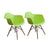 Buschman Set of 2 Green Chairs, Mid Century Modern Dining Armchairs