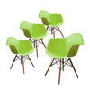 Buschman Set of Four Green Mid Century Modern Dining Room Wooden Legs Armchairs