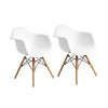 Buschman Set of Two White Mid Century Modern Dining Room Wooden Legs Armchairs