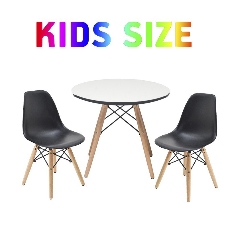 Set of Kids Table with Scratch Resistant Surface and 2 Black Retro Side Chairs