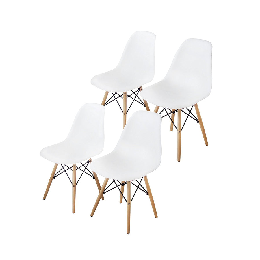 Buschman Set of 4 White Eames Chairs, Mid Century Modern Dining Chairs