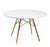 Buschman Mid Century Modern Dining Round Kitchen Coffee Table in White with Wooden Legs, 39.4 Inches