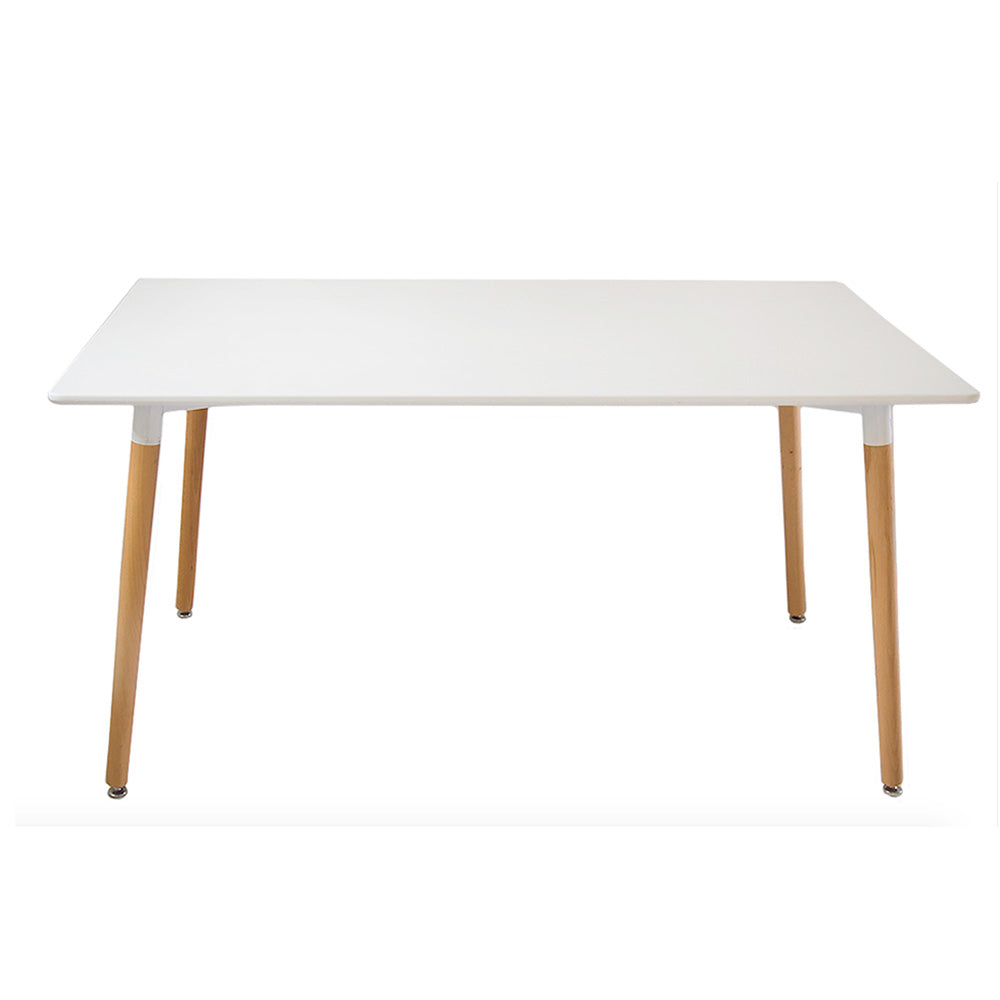 Buschman Mid Century Modern Dining Rectangular Kitchen Table in White with Wooden Legs, 47.2 x 31.5 Inches