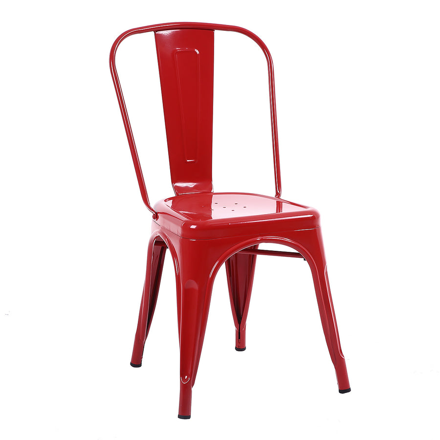 Buschman Set of Four Red Dining Room Industrial Metal Stackable Chairs With Back