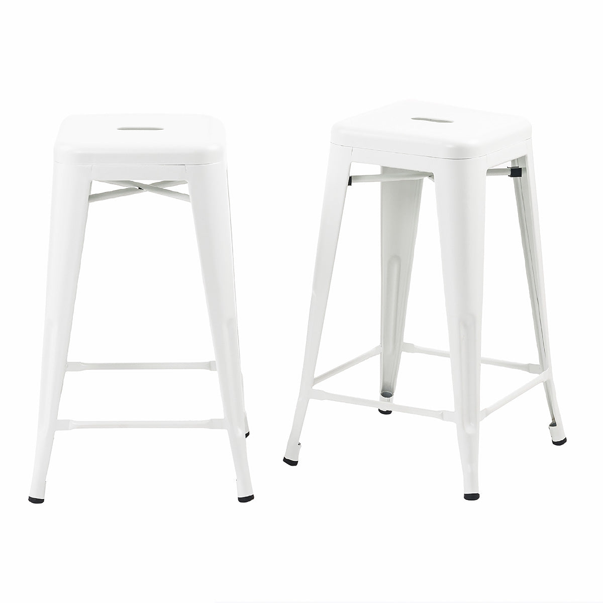 Buschman Set Of 2 White 24 Inch Counter Height Metal Bar Stools