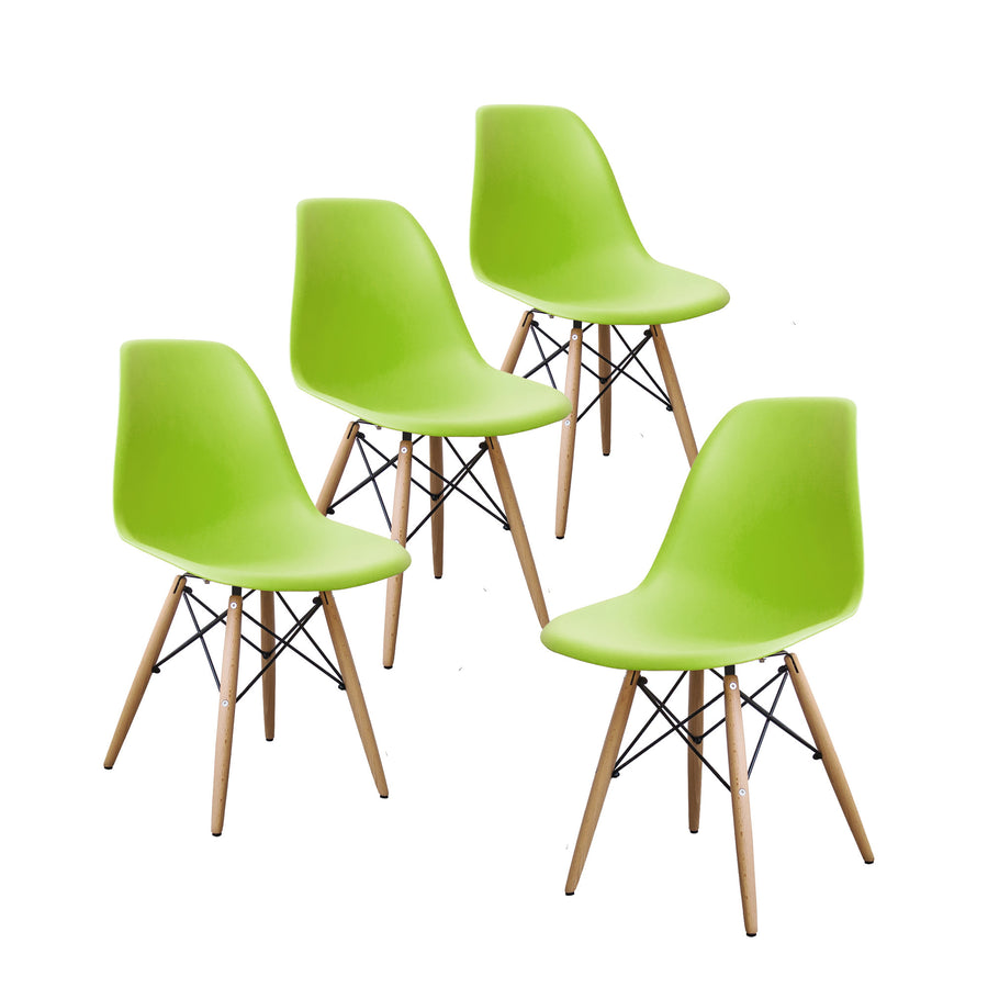 Buschman Set of 4 Green Eames Chairs, Mid Century Modern Dining Chairs
