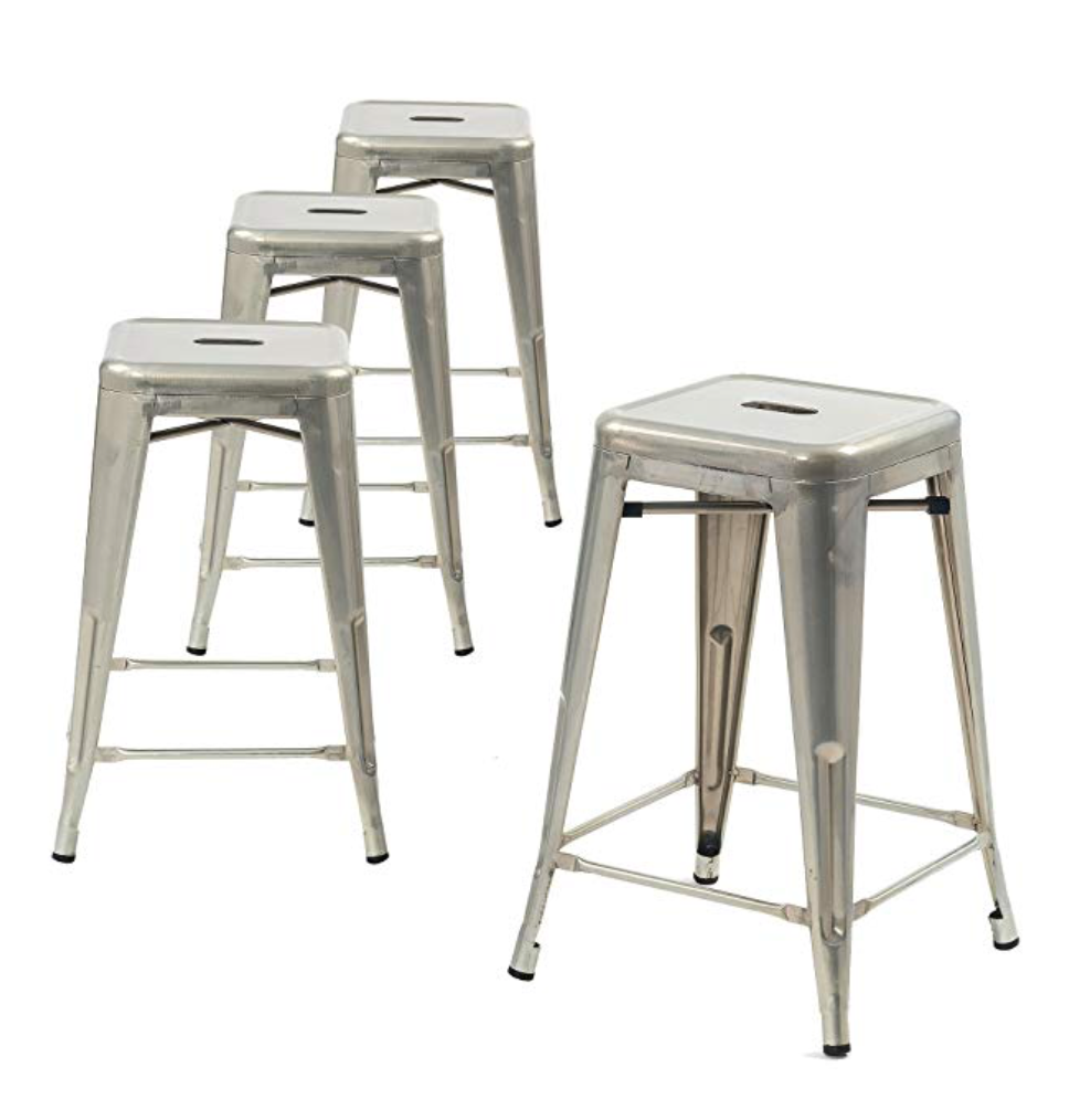 Peachy Buschman Metal Bar Stools 24 Counter Height Indoor Outdoor And Stackable Set Of 4 Galvanized Ncnpc Chair Design For Home Ncnpcorg