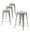 Buschman Set of 4 Galvanized 24 Inch Counter Height Metal Bar Stools, Indoor/Outdoor Stackable