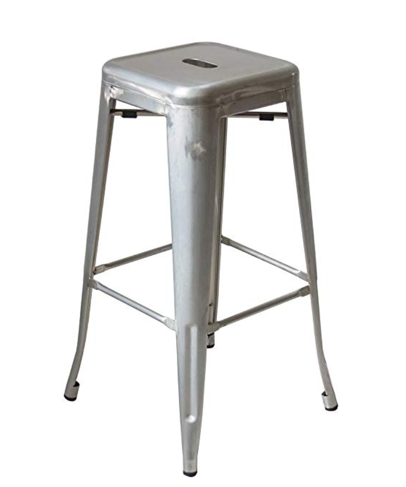 "Buschman Metal Bar Stools 24"" Counter Height, Indoor/Outdoor and Stackable, Set of 4 (Galvanized)"