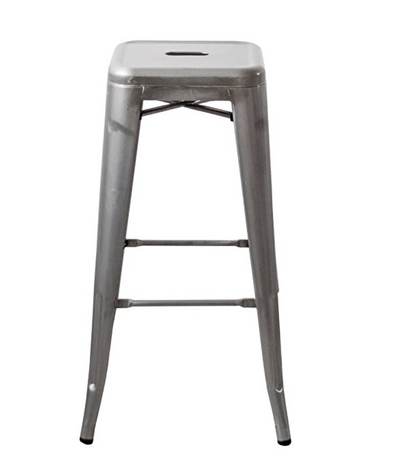 "Buschman Set of Four Galvanized 24"" Industrial Metal Stackable Backless Barstools"