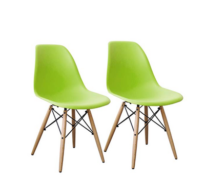 Buschman Set of 2 Green Eames Chairs, Mid Century Modern Dining Chairs