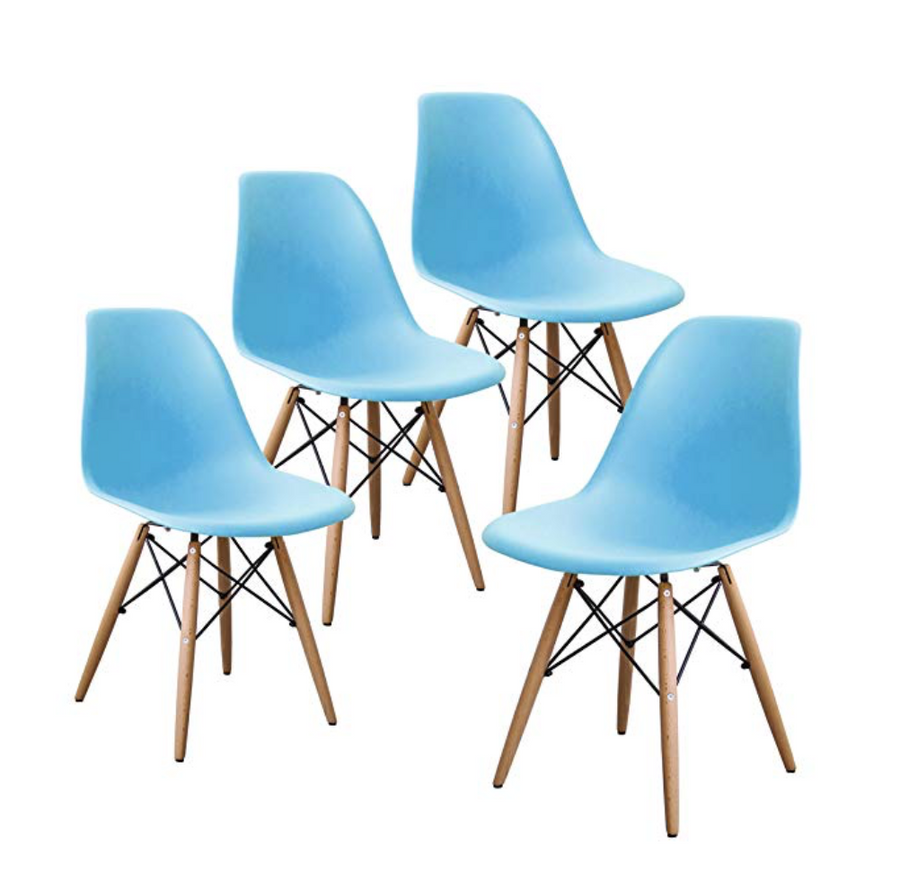 Buschman Set of Four Blue Mid Century Modern Dining Room Wooden Legs Chairs