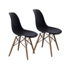 Buschman Set of Two Black Mid Century Modern Dining Room Wooden Legs Chairs