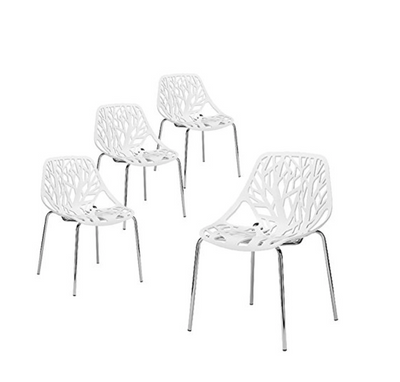 Buschman Set of 4 White Birds Nest (Birch Sapling) Mid Century Modern Chromed Leg Dining Chairs
