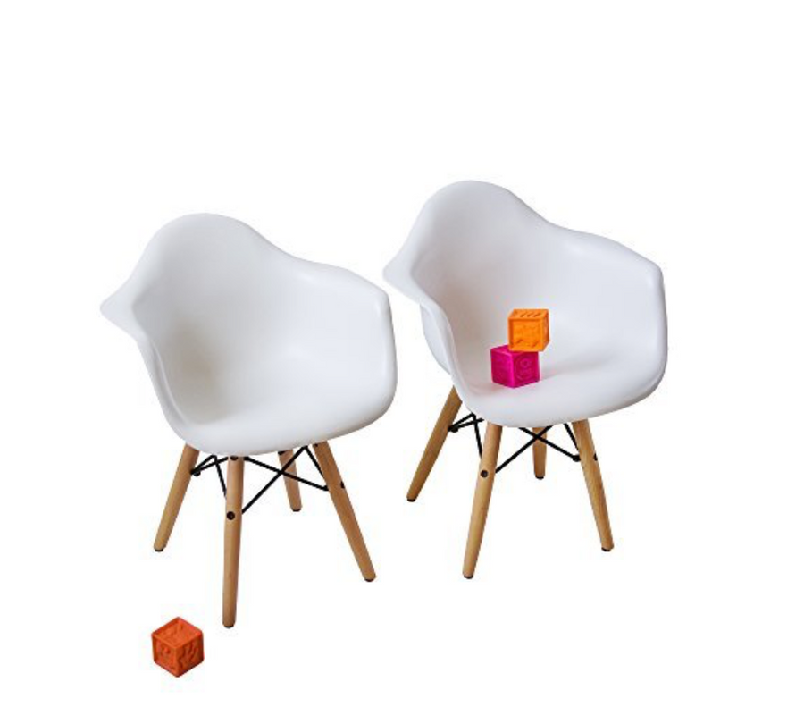 Buschman Set of 2 White Kids Eames Chairs, Mid Century Modern Armchairs