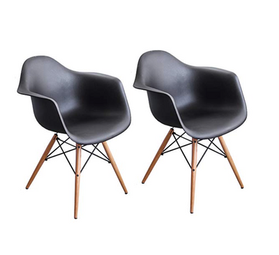 Buschman Set of 2 Black Eames Chairs, Mid Century Modern Dining Armchairs