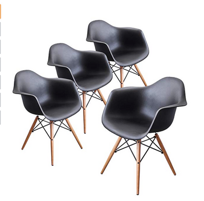Buschman Set of 4 Black Eames Chairs, Mid Century Modern Dining Armchairs