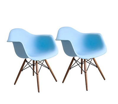 Buschman Set of 2 Blue Eames Chairs, Mid Century Modern Dining Armchairs