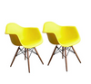 Buschman Set of Two Yellow Mid Century Modern Dining Room Wooden Legs Armchairs