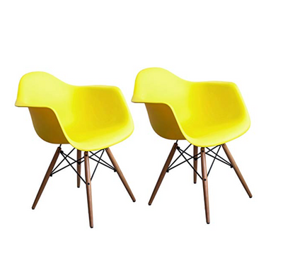Buschman Set of 2 Yellow Chairs, Mid Century Modern Dining Armchairs