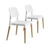 Buschman Set of Two White Mid Century Modern Wooden Legs Dining Room Chairs