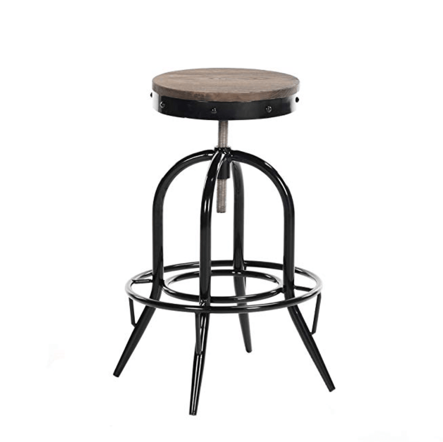 Buschman Black Industrial Pub Height Wooden Seat Swivel Bar Stool