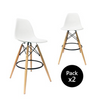 Buschman Set of 2 White 30 Inch Bar Height Mid Century Modern Eames Bar Stools with Backs