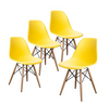 Buschman Set of 4 Yellow Chairs, Mid Century Modern Dining Chairs
