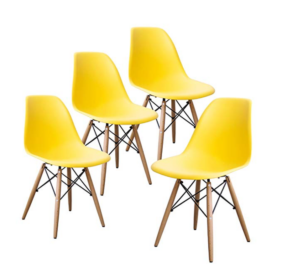 Buschman Set of Four Yellow Mid Century Modern Dining Room Wooden Legs Chairs