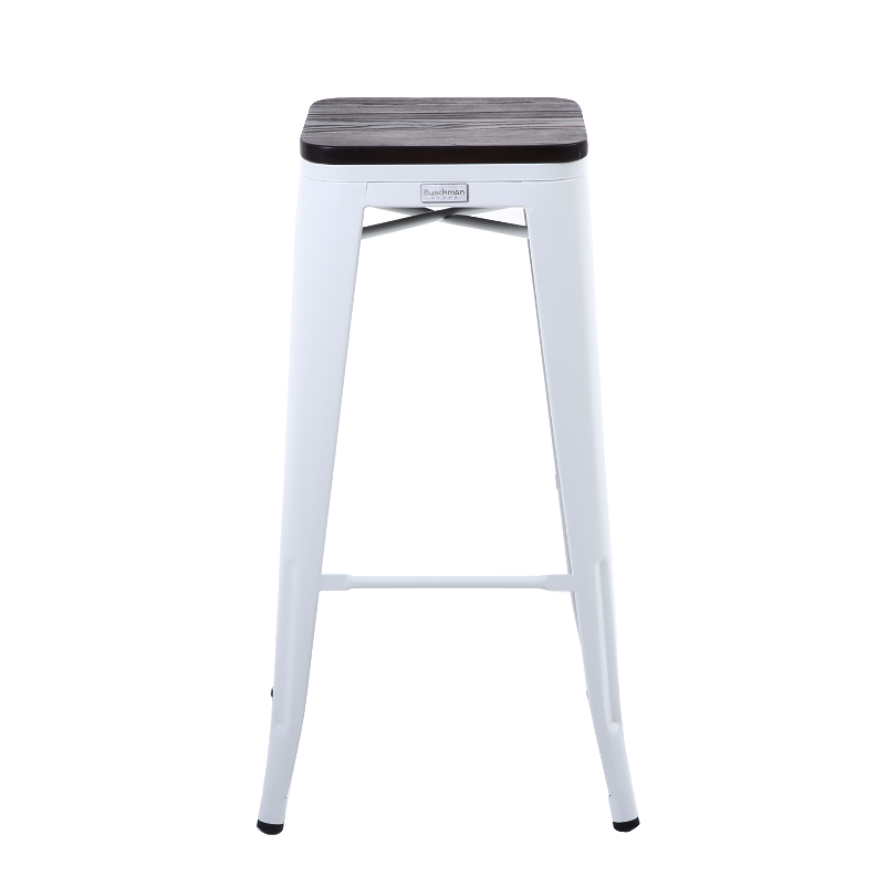 Buschman Set of 2 Matte White Wooden Seat 30 Inch Bar Height Metal Bar Stools, Indoor/Outdoor, Stackable