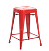Вuschman Set of 2 Red 24 Inch Counter Height Metal Bar Stools, Indoor/Outdoor, Stackable