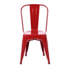 Buschman Set of 4 Red Metal Dining Chairs, Indoor/Outdoor and Stackable