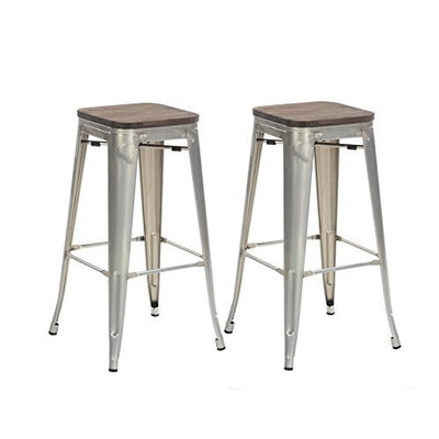 "Buschman Set of Two 30"" Industrial Metal Stackable Backless Barstools with Wooden Seat"